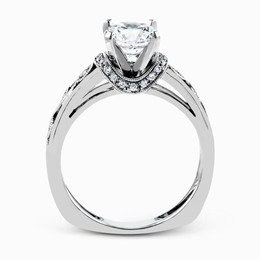 Simon G 18K White Gold Delicate Floral Pattern Diamond Engagement Ring image 3