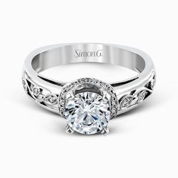 Simon G 18K White Gold Delicate Floral Pattern Diamond Engagement Ring image 2