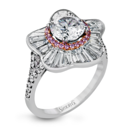 Simon G 18K White & Rose Gold Eye-Catching Floral Engagement Ring image 2