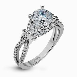 Simon G 18K White Gold Delicately Twisted Shank Engagement Ring image 2