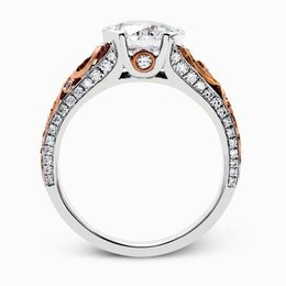 Simon G 18K White & Rose Gold Intricate Vintage Design Engagement Ring image 3
