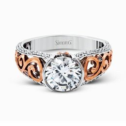 Simon G 18K White & Rose Gold Intricate Vintage Design Engagement Ring image 2