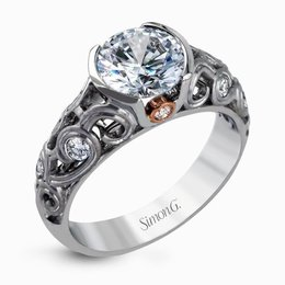 Simon G 18K White & Rose Gold Intricate Design Modern Engagement Ring image 2