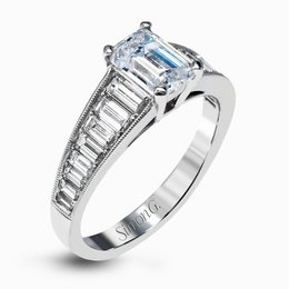 Simon G 18K White Gold Dazzling Contemporary Design Engagement Ring image 2