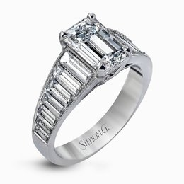 Simon G 18K White Gold Impressive Modern Design Engagement Ring image 2