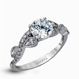 Simon G 18K White Gold Distinctively Romantic Design Diamond Engagement Ring image 2