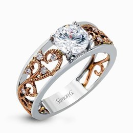Simon G 18K White & Rose Gold Dazzling Vintage-Style Diamond Engagement Ring image 2