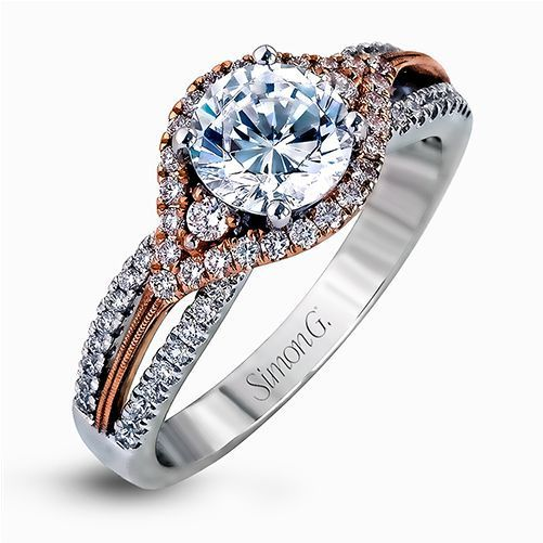 Simon G 18K Rose & White Gold Modern Design Engagement Ring image 2