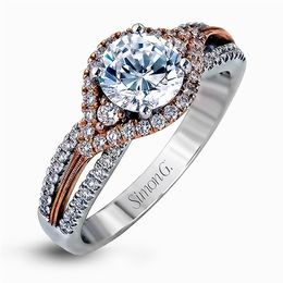 Simon G 18K Rose & White Gold Modern Design Engagement Ring image 1