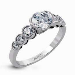 Simon G 18K White Gold Graduated Romantic Design Diamond Engagement Ring image 2