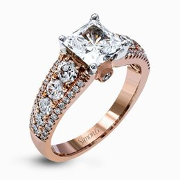 Simon G 18K Rose Gold Brilliant Modern Design Diamond Engagement Ring image 2
