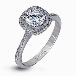 Simon G 18K White Gold Classic Halo Diamond Engagement Ring image 2