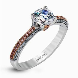 Simon G 18K White & Rose Gold Contemporary Diamond Engagement Ring image 1
