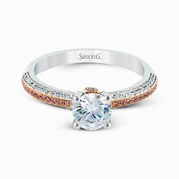 Simon G 18K White & Rose Gold Contemporary Diamond Engagement Ring image 2