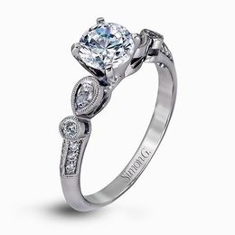 Simon G 18K White Gold Stunning Contemporary Diamond Engagement Ring image 1