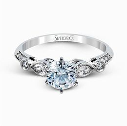 Simon G 18K White Gold Stunning Contemporary Diamond Engagement Ring image 2