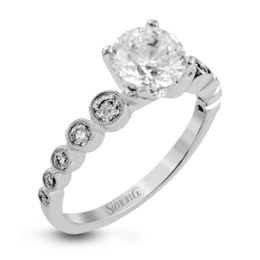 Simon G 18K White Gold Bezel Set Diamond Engagement Ring image 2