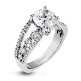 Simon G 18K White Gold Classic Design Modern Diamond Engagement Ring image 1