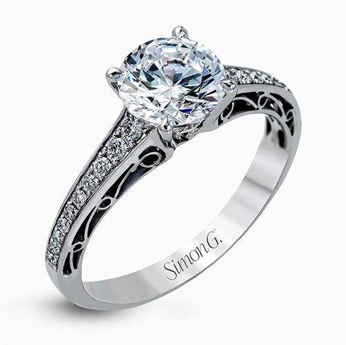 Simon G 18K White Gold Delicate Vintage Style Diamond Engagement Ring image 2