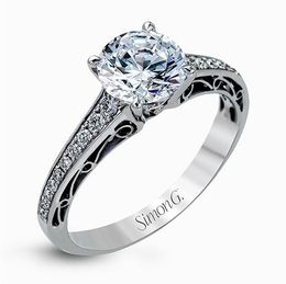 Simon G 18K White Gold Delicate Vintage Style Diamond Engagement Ring image 1