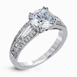 Simon G 18K White Gold Charming Contemporary Engagement Ring image 2