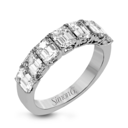 Simon G 18K White Gold Classic Design Emerald Cut Diamond Wedding Band image 2