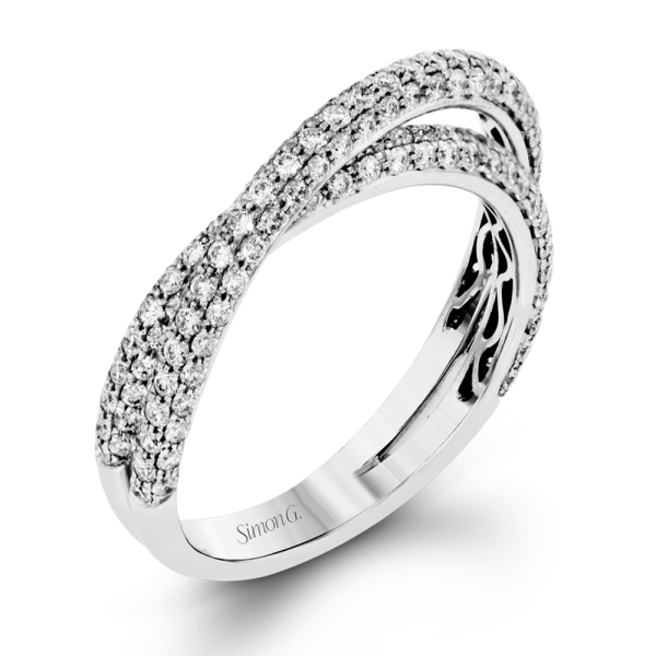 Simon G 18K White Gold Eye-Catching Modern Wedding Band image 2