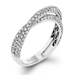 Simon G 18K White Gold Eye-Catching Modern Wedding Band image 1