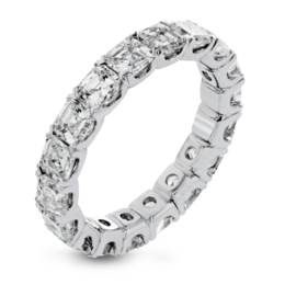 Simon G 18K Lovely White Gold Asscher Cut Diamond Eternity Wedding Band image 2