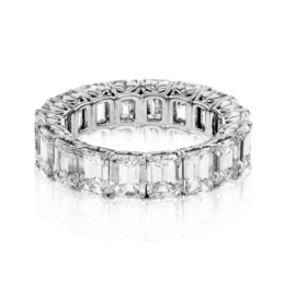 Simon G 18K Lovely White Gold Asscher Cut Diamond Eternity Wedding Band image 3