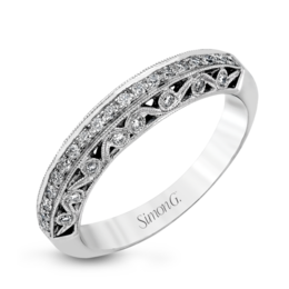 Simon G 18K White Gold Vintage-Inspired Floral Design Diamond Wedding Band image 2