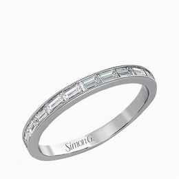 Simon G 18K White Gold Spectacular Baguette Cut Diamond Wedding Band image 2