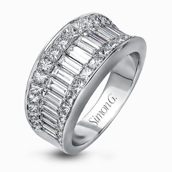 Simon G 18K White Gold Impressive Baguette & Princess Cut Diamond Band image 2