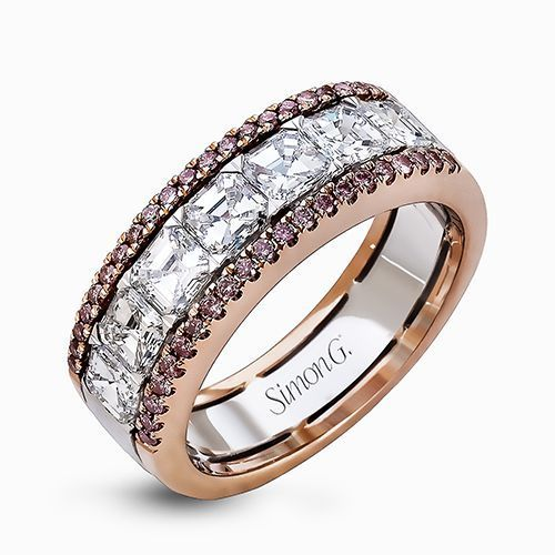 Simon G 18K White & Rose Gold Asscher Cut Diamond Wedding Band image 2