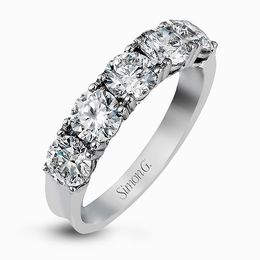 Simon G Platinum Impressive Design Round Cut Diamond Wedding Band image 2