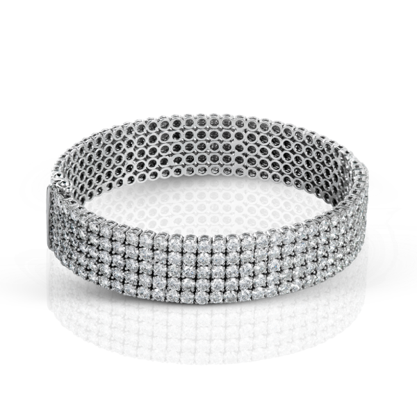 Simon G 18K White Gold Diamond Bangle Bracelet image 2