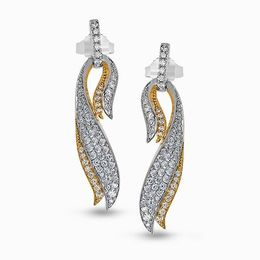 Simon G 18K White & Yellow Gold Eye-Catching Cascade Design Diamond Earrings image 2