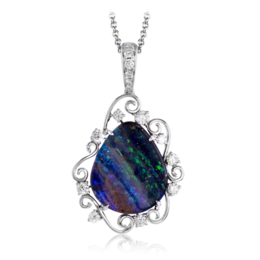 Simon G 18K White Gold Lovely Opal & Diamond Pendant image 2