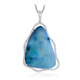 Simon G 18K White Gold Eye-Catching Boulder Opal & Diamond Pendant image 2