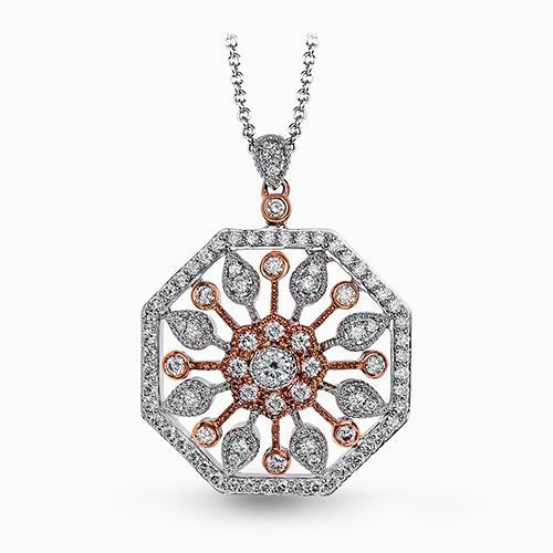 Simon G 18K Rose & White Gold Beautiful Vintage-Inspired Pendant image 2