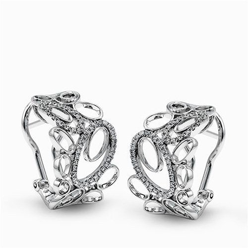 Simon G 18K White Gold Contemporary Looped Design Diamond Earrings image 2