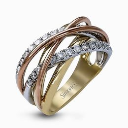 Simon G 18K Yellow White & Rose Gold Intertwined Design Contemporary Band image 2