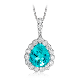 Simon G 18K White Gold Beautiful Paraiba Tourmaline & Diamond Pendant image 2