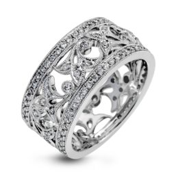 Simon G 18K White Gold Detailed Vintage Floral Pattern Design Diamond Fashion Ring image 2