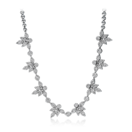 Simon G 18K White Gold Lovely Nature-Inspired Diamond Necklace image 2