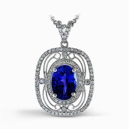 Simon G 18K White Gold Vintage Inspired Lacy Design Sapphire & Diamond Pendant image 2