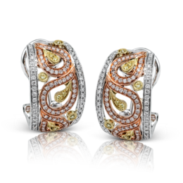 Simon G 18K White Yellow & Rose Gold Paisley Diamond Earrings image 2