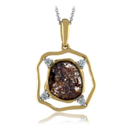 Simon G 18K Yellow Gold Modern Pendant With Brown Diamond Center image 2