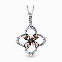 Simon G 18K White & Rose Gold Vintage Dangle Style Diamond Pendant image 2