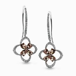 Simon G 18K White & Rose Gold Impressive Brown & White Diamond Earrings image 2